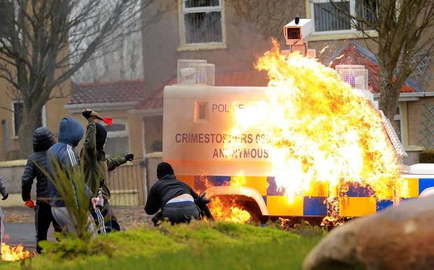 Police attacked with petrol bombs at illegal dissident republican parade