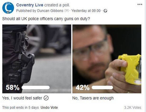 All British police officers should carry guns, say CoventryLive readers