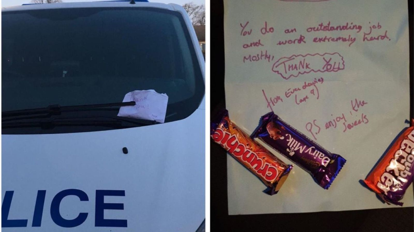 A sweet gesture: Girl, 9, gives thank you notes and chocolates to police